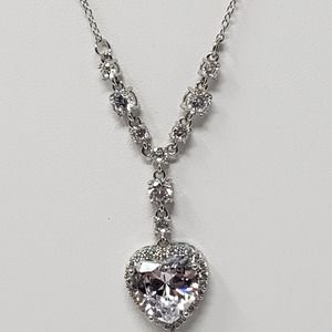 Cubic Zirconia Heart Y Drop Pendant Chain Necklace
